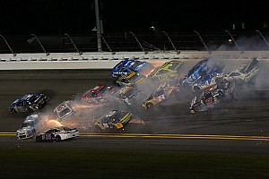 NASCAR Sprint Cup Breaking news Half the field involved in massive wreck at Daytona - video