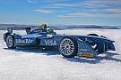 Formula E Di Grassi drives Formula E car on Arctic ice cap