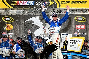 NASCAR Sprint Cup Race report Harvick takes Bristol win, then celebrates with Stewart