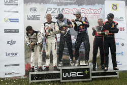Podium: Winners Andreas Mikkelsen, Anders Jäger, Volkswagen Polo WRC, Volkswagen Motorsport; second place Ott Tanak, Raigo Molder, DMACK World Rally Team; third place Hayden Paddon, John Kennard, Hyundai i20 WRC, Hyundai Motorsport