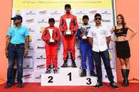 Kart Photos - Podium: Race winner Manav Sharma, BPC Racing, second place Chirag Ghorpade BPC Racing, third place  Jonathan Kuriakose, Rayo Racing