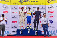 Indian Open Wheel Photos - Race winner Kush Maini, second place Akhil Rabindra, third place Anindith Reddy