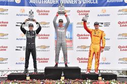 Podium: race winner Will Power, Team Penske Chevrolet, second place Simon Pagenaud, Team Penske Chevrolet, third place Ryan Hunter-Reay, Andretti Autosport Honda