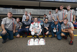 Craig Lowndes, Triple Eight Race Engineering Holden celebrates his 600th Supercars race with teammates Jamie Whincup, Triple Eight Race Engineering Holden and Shane van Gisbergen, Triple Eight Race Engineering Holden