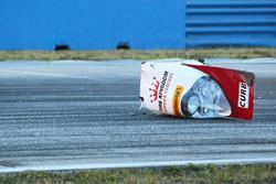 A piece of the crashed #60 Michael Shank Racing with Curb/Agajanian Ligier JS P2 Honda: John Pew, Oswaldo Negri, Olivier Pla