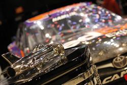 The Daytona 500 Trophy with the car of Denny Hamlin, Joe Gibbs Racing Toyota