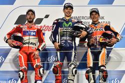 Podium: Race winner Jorge Lorenzo, Movistar Yamaha MotoGP, Yamaha; second place Andrea Dovizioso, Ducati Team, Ducati; third place Marc Marquez, Repsol Honda Team, Honda