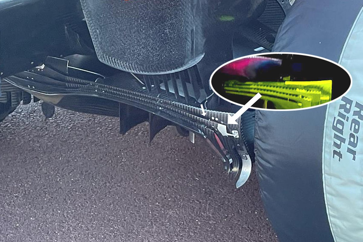 Comparación del difusor del Red Bull Racing RB16B.