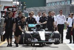 Mercedes AMG F1 Team W07 car in the pitlane