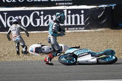 Fabio Quartararo, Leopard Racing and Jorge Martin, Aspar Team Mahindra crash