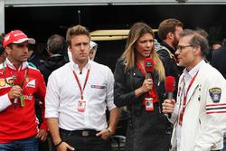 (L to R): Marc Gene, Ferrari Test Driver with Davide Valsecchi, Sky F1 Italia Presenter, Federica Masolin, Sky F1 Italia Presenter, and Jacques Villeneuve