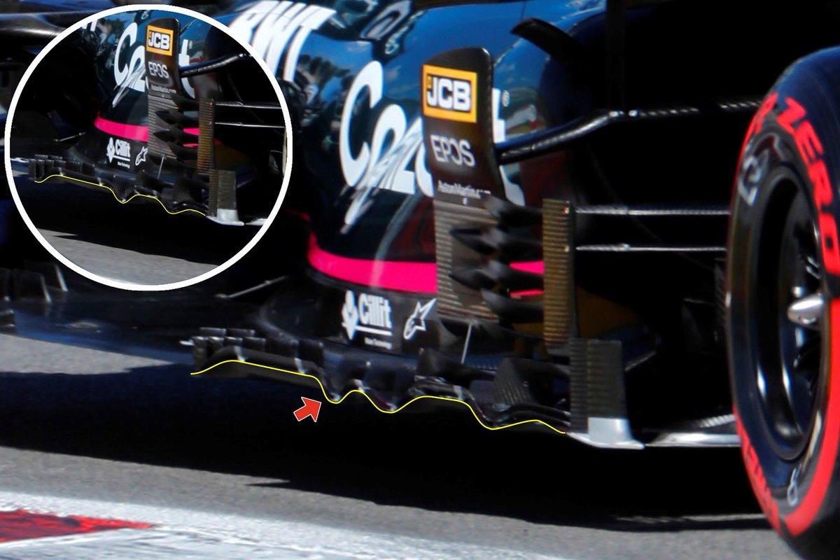 Detalle del fondo plano del Aston Martin Racing AMR21.