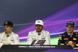 Qualifying top three in the FIA Press Conference (L to R): Nico Rosberg, Mercedes AMG F1, second; Lewis Hamilton, Mercedes AMG F1, pole position; Max Verstappen, Red Bull Racing, third