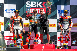 Sunday race podium: 1st place Tom Sykes, Kawasaki Racing Team, 2nd place Davide Giugliano, Aruba.it Racing - Ducati, 3rd place Chaz Davies, Aruba.it Racing - Ducati