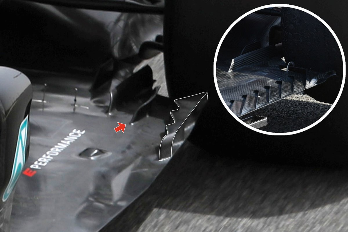 Detalle del suelo del Mercedes W12.