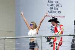 Podium: Andrea Iannone, Ducati Team, Ducati with a Red Bull girl