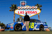 NASCAR Sprint Cup Photos - Jimmie Johnson, Hendrick Motorsports Chevrolet in front of the Welcome to Fabulous Las Vegas sign