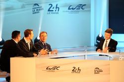 Alexander Wurz, president of the FIA Endurance Commission Lindsay Owen-Jones, presenter Bruno Vandestick