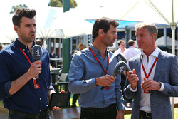Steve Jones, Channel 4 F1 Presenter, Mark Webber, Porsche Team WEC Driver and Channel 4 Presenter, David Coulthard, Red Bull Racing and Scuderia Toro Advisor and Channel 4 F1 Commentator