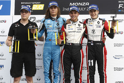 Race 2 podium: winner Dorian Boccolacci, Tech 1 Racing, second place Max Defourny, R-ace GP, third place Sacha Fenestraz, Tech 1 Racing