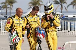 Nicky Catsburg, LADA Sport Rosneft, Lada Vesta, Hugo Valente, LADA Sport Rosneft, Lada Vesta, Gabriele Tarquini, LADA Sport Rosneft, Lada Vesta after MAC3 qualifying
