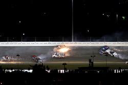 Crash: Rico Abreu, ThorSport Racing Toyota; Cameron Hayley, ThorSport Racing Toyota; Daniel Suarez, Kyle Busch Motorsports Toyota