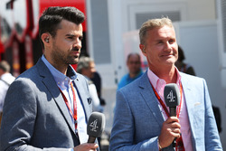 (L to R): Steve Jones, Channel 4 F1 Presenter with David Coulthard, Red Bull Racing and Scuderia Toro Advisor / Channel 4 F1 Commentator