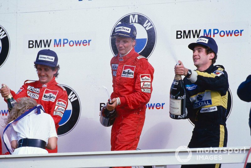 Niki Lauda, McLaren, Alain Prost, McLaren, Ayrton Senna, Lotus