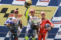 Podium: winner Valentino Rossi, Yamaha Factory Racing, second place Jorge Lorenzo, Yamaha Factory Racing, third place Casey Stoner, Ducati Team