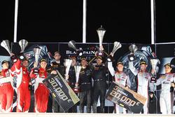 Overall podium: winners #58 Garage 59 McLaren 650S GT3: Rob Bell, Come Ledogar, Shane van Gisbergen, second place #50 AF Corse Ferrari 488 GT3: Pasin Lathouras, Michele Rugolo, Alessandro Pier Guidi, third place #3 Belgian Audi Club Team WRT Audi R8 LMS: