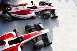 The cars of Nobuharu Matsushita, ART Grand Prix and Sergey Sirotkin, ART Grand Prix in the pit lane