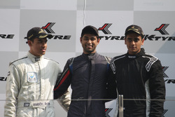 Podium: race winner Anindith Reddy, second place Ananth Shanmugam, third place Nayan Chatterjee