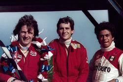 Race winner Rick Morris, series champion and second place Ayrton Senna, third place Alfonso Toledano
