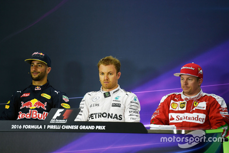 Press conference: Daniel Ricciardo, Red Bull Racing, Nico Rosberg, Mercedes AMG F1 Team and Kimi Raikkonen, Ferrari