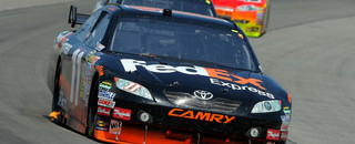 Hamlin waits out Pocono for emotional win