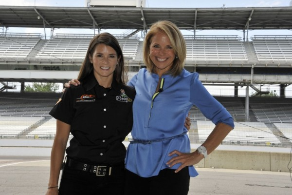 Danica Patrick takes TV personality Katie Couric for a rapid ride at Indy