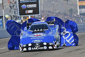 NHRA Qualifying report Hight, C. Force run way from field at Las Vegas on Friday qualifying