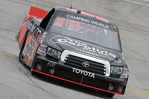 NASCAR Truck Race report Sauter out in front of last-lap wreck for Talladega win