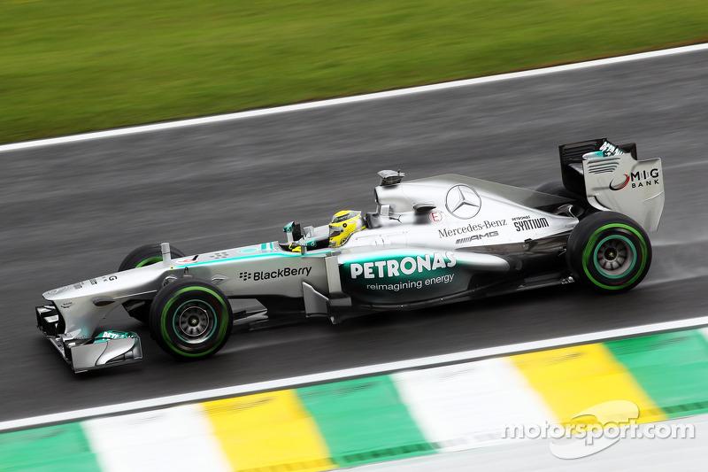 Rosberg quickest in wet Brazil FP1