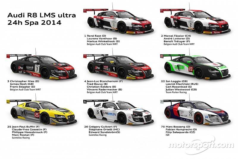 Audi teams aim to mount winners podium again at Spa 24h
