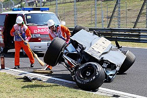 Perez escapes injury in massive shunt