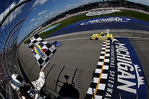 NASCAR Truck Race report Busch battles back for first Michigan win