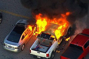 NASCAR Sprint Cup Breaking news Fire breaks out in Kentucky Speedway parking lot during race