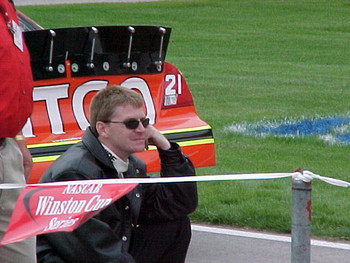Ward Burton waiting on car