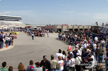 The crowds around the garage during happy hour