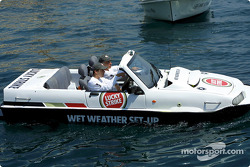 Olivier Panis having fun with the amphibious car 1800cc diesel engine Dutton Commander