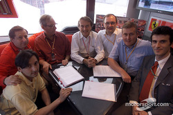 Signature of the agreement between Ferrari and Vodafone: Peter Harris, Jean Todt, Chris Gent, Luca di Montezemolo, Thomas Geitner, David Haines and Lorenzo Legnaioli