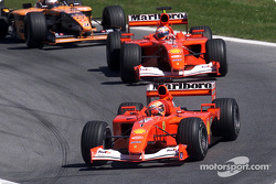 Michael Schumacher, Rubens Barrichello and Jos Verstappen