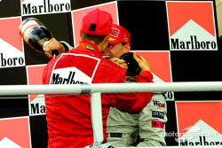 The podium: Michael Schumacher and David Coulthard