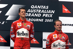Michael Schumacher and Rubens Barrichello after a tragic race